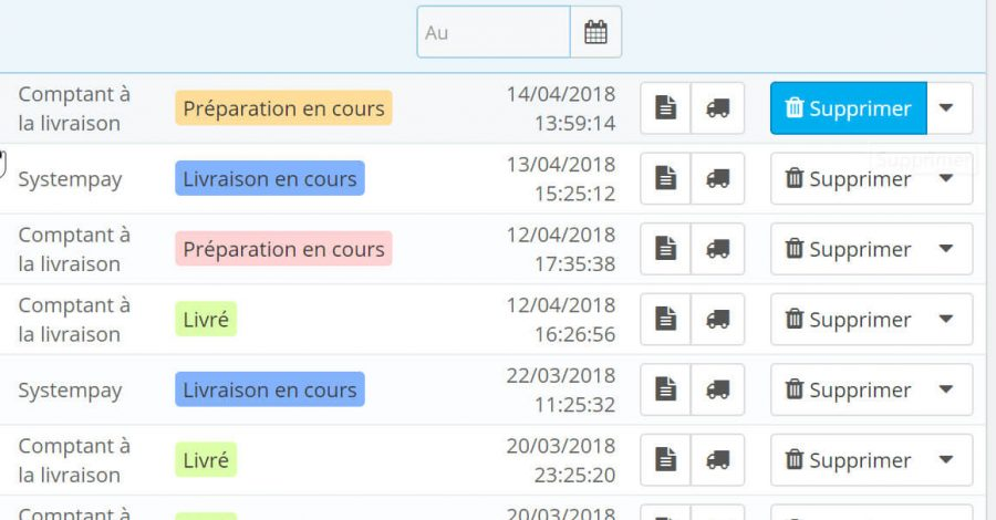 Suppression des commandes Prestashop